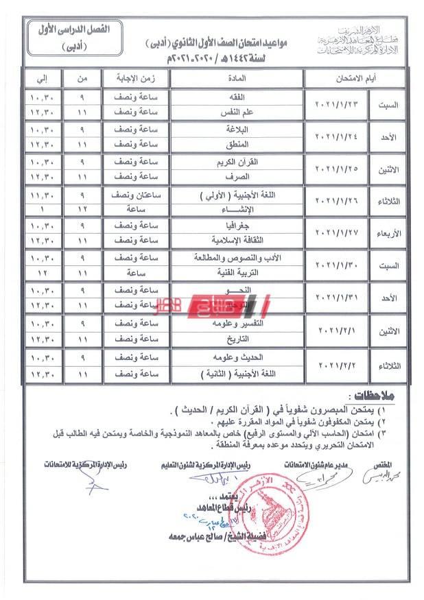 جدول امتحانات الصف الأول الثانوي الازهري