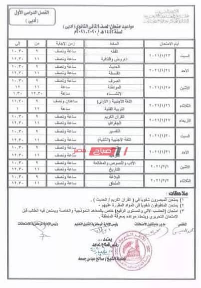 جدول امتحانات الصف الثاني الثانوي الأزهري الترم الأول 2021 علمي وأدبي