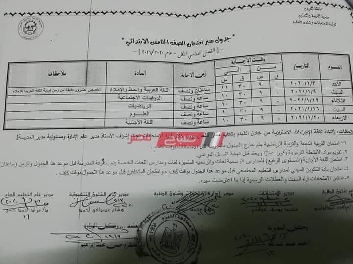 جدول امتحانات الصف الخامس الإبتدائى محافظة الفيوم
