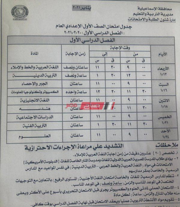 جدول امتحانات الترم الأول 2021