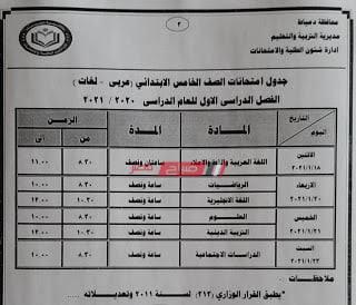 جدول امتحانات محافظة دمياط 2021 الصف الخامس الإبتدائى