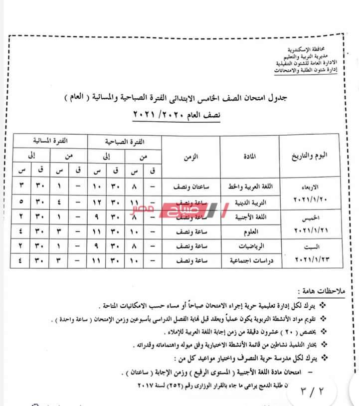 جدول امتحانات محافظة الإسكندرية