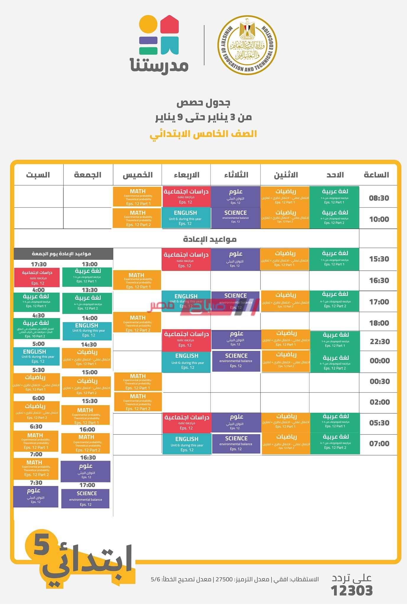جدول حصص قناة مدرستنا الصف الخامس الابتدائي