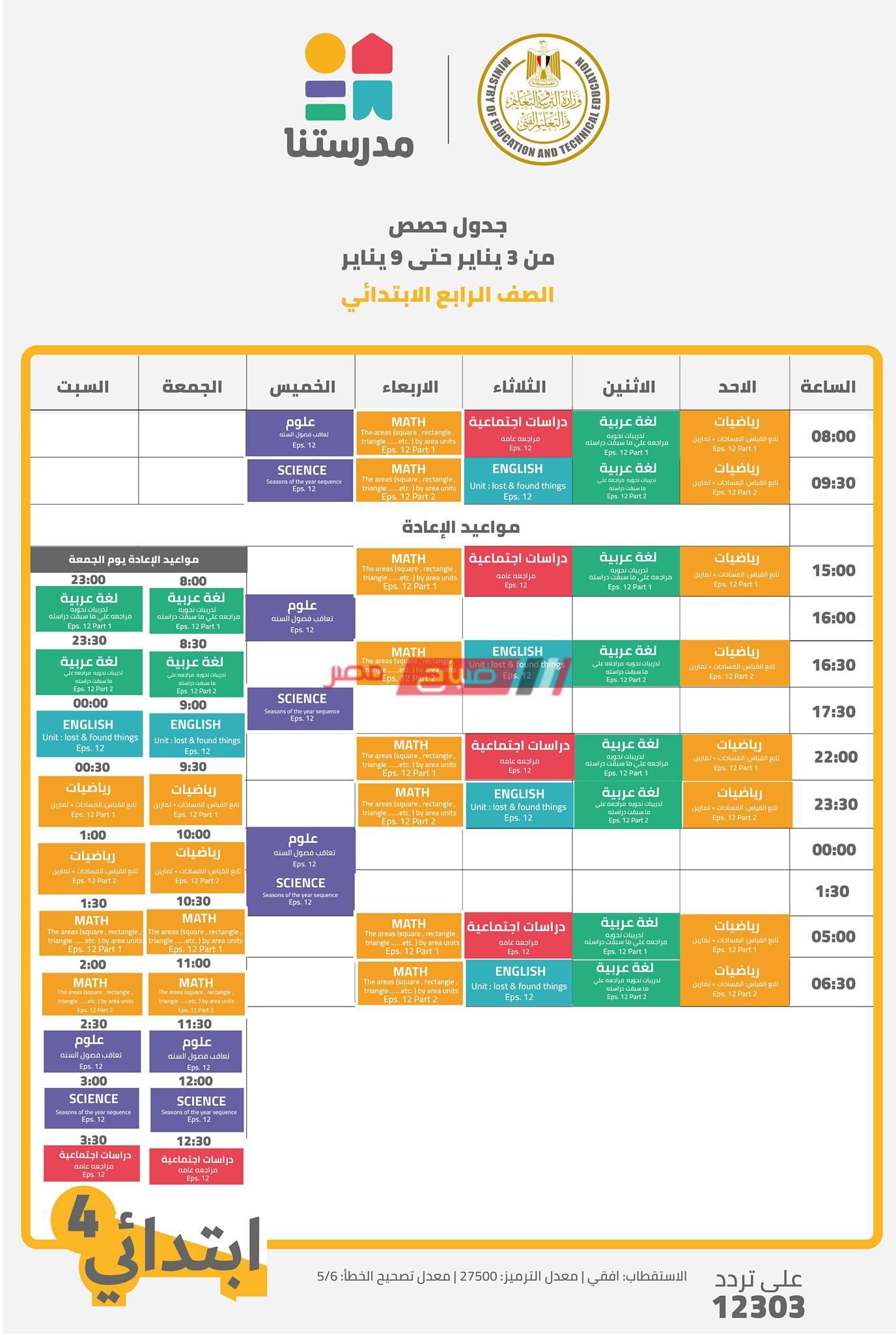 جدول حصص قناة مدرستنا الصف الرابع الابتدائي