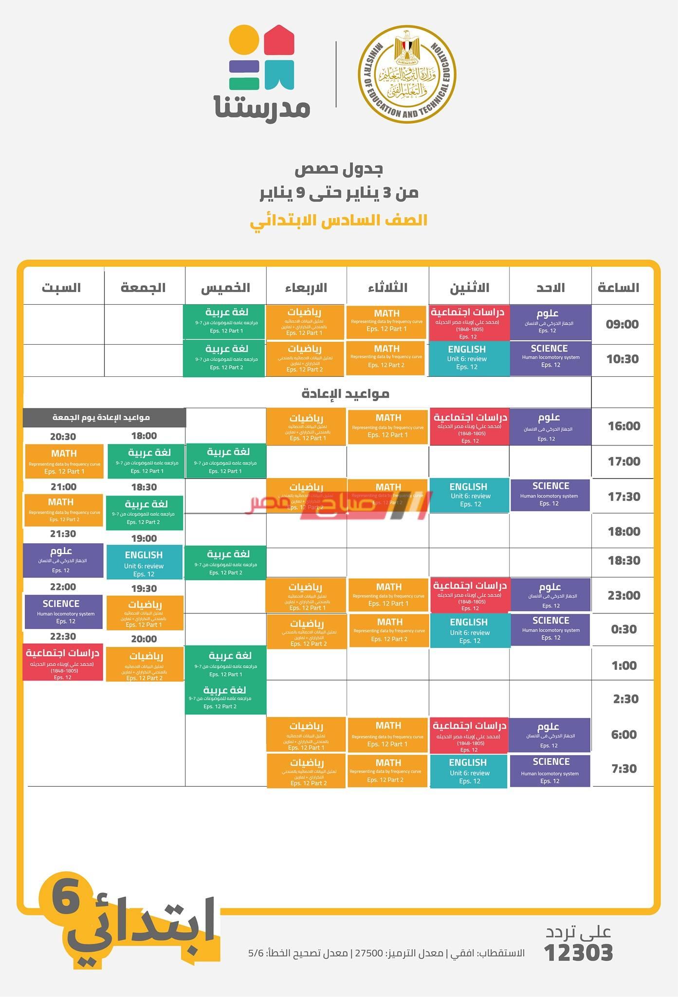 جدول حصص قناة مدرستنا الصف السادس الابتدائي