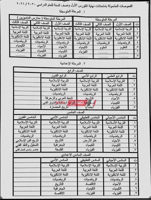 جدول امتحانات الكورس الأول ونصف العام