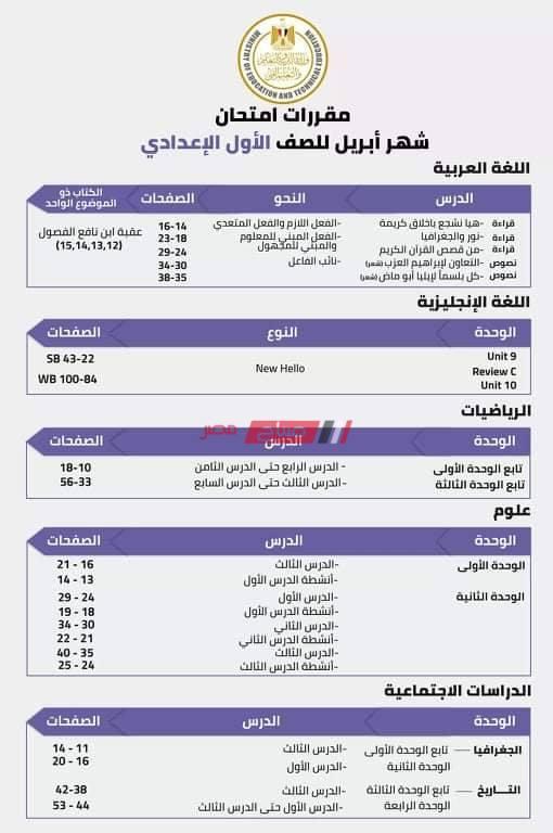 توزيع منهج شهر ابريل للصف الاول الاعدادى 2021