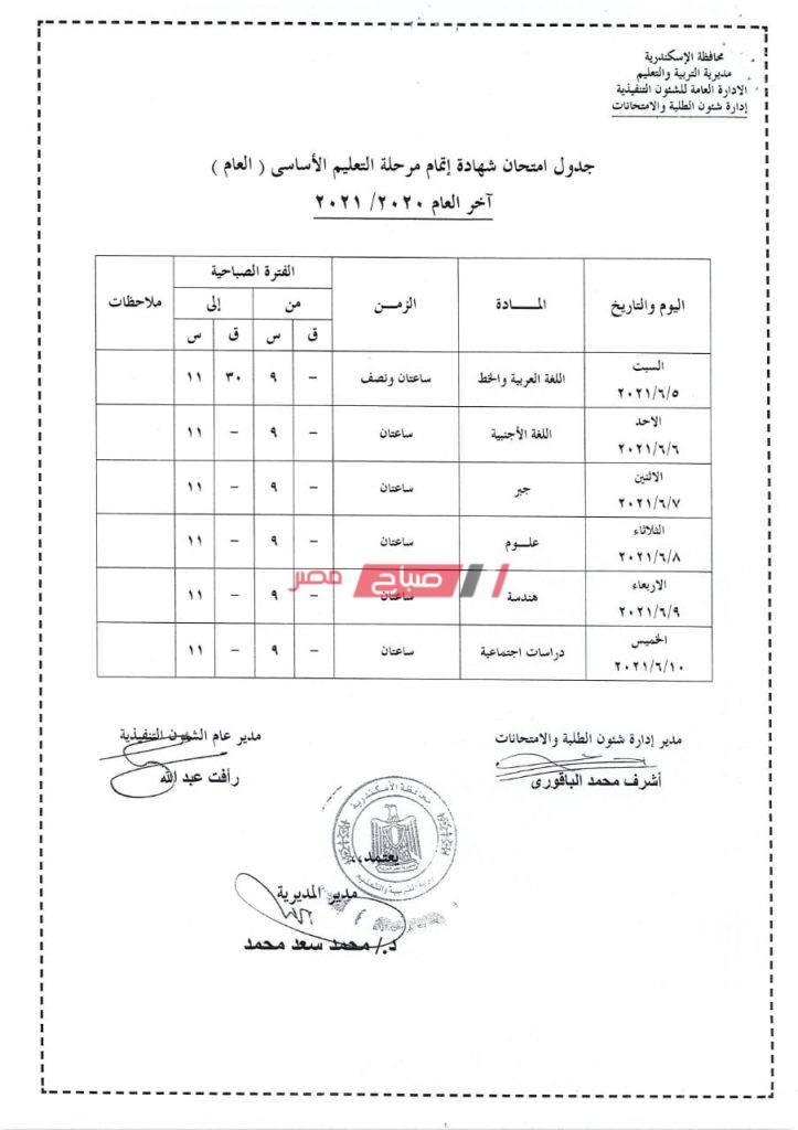 جدول الشهادة الاعدادية محافظة الإسكندرية