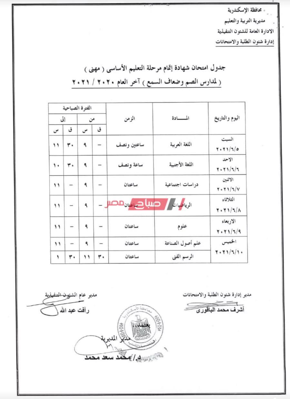 جدول امتحانات الشهادة الاعدادية الترم الثاني 2021