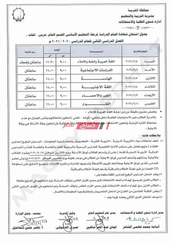 جدول امتحانات الصف الثالث الاعدادى الترم الثانى 2021 محافظة الغربية