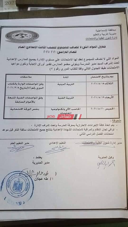 جدول امتحانات الصف الثالث الاعدادي محافظة الإسماعيلية