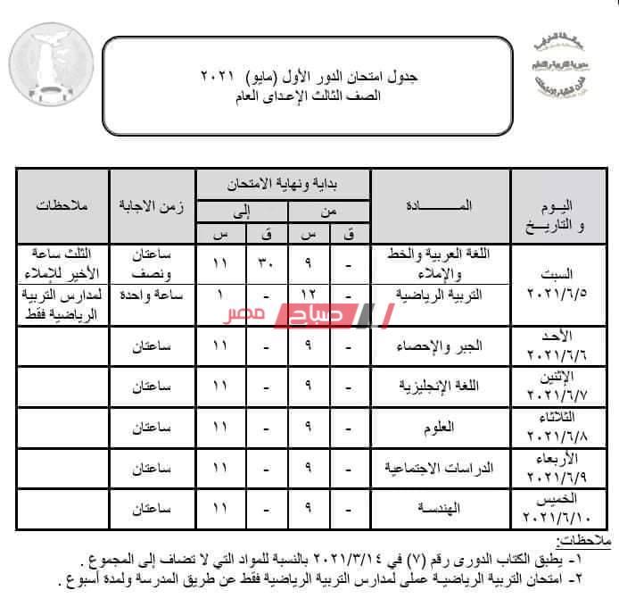 جدول امتحانات الصف الثالث الاعدادي محافظة المنوفية