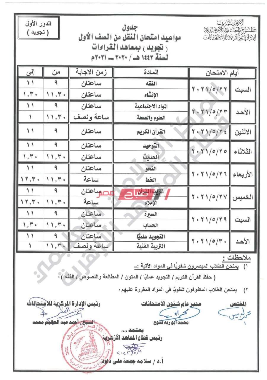 جدول امتحانات القراءات 2021