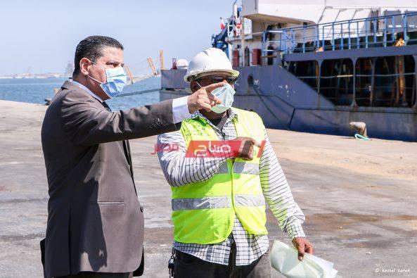 الإجراءات الإحترازية ضد فيروس كورونا في ميناء دمياط
